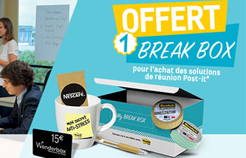 1 Break Box offerte pour l'achat des solutions de réunion Post-it®