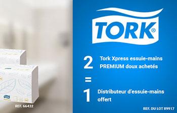 Offre Tork : 2 Tork Xpress essuie-mains PREMIUM doux achetés, 1 distributeur offert